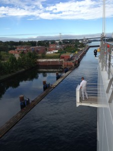Entering the first lock and Kiel Canal
